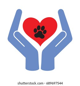 protection animal Pet ,A heart with a breath in his hands