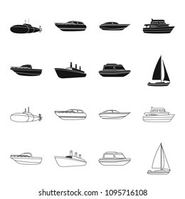 Protection boat, lifeboat, cargo steamer, sports yacht.Ships and water transport set collection icons in black,outline style vector symbol stock illustration web.