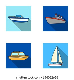 Protection boat, lifeboat, cargo steamer, sports yacht.Ships and water transport set collection icons in flat style vector symbol stock illustration web.