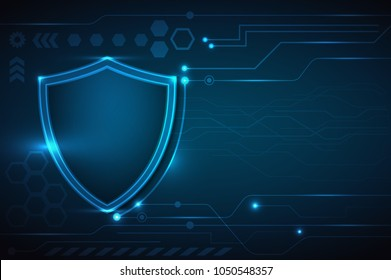 Protection concept: blue Shield icon on digital background. Cybersecurity and information or network protection. Vector Illustration EPS10.