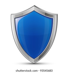 Protection concept. Vector illustration of blue glossy shield