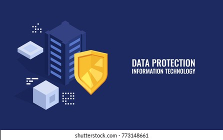 Protection data concept, server room rack, database security, shield server unit, computing digital technology isometric flat