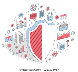 Protection of finances concept, financial safety, Life Buoy and Shield isolated on white background. Vector 3d isometric business illustration with icons, stats charts and design elements.