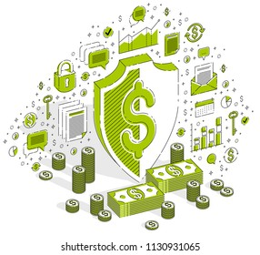 Protection of finances concept, Life Buoy and Shield with cash money dollar stack isolated on white background. Isometric 3d vector finance illustration with icons, stats charts and design elements.