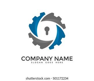 Protection Gear Security Logo Design Template