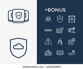 Protection icon set and password field with cyber fraud, surveillance and online thief. Spy related protection icon vector for web UI logo design.