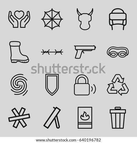 Protection Icons Set Set 16 Protection Stock Vector Royalty Free