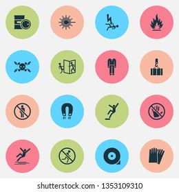 Protection icons set with overhead crane, strong magnetic field, electrocution hazard and other fire elements. Isolated vector illustration protection icons.