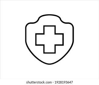 Protection of immunity graphic icon. Shield immune system concept. Protection health sign isolated on white background. Vector illustration