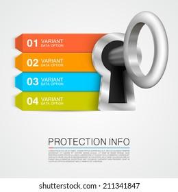 Protection info arrow. Key infographic, padlock info arrow, Vector illustration