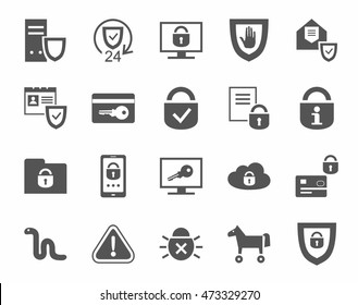 Protection of information, icons, monochrome. Information technology, data security system. Vector flat icons on white background.