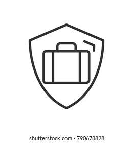 Protection Luggage. suitcase and shield. linear icon. Line with Editable stroke