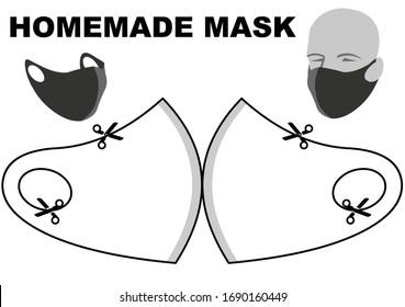 Modèle de masque de protection. Masque fait maison.