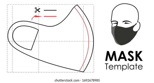 Modèle de masque de protection. Masque fait maison. Modèle pour faire un masque médical. Masque facial auto-fabriqué