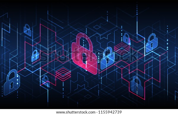 Protection mechanism, system privacy. Vector illustration