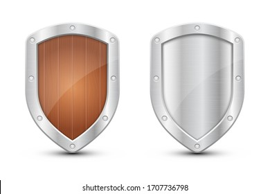 Protection metallic shield vector design illustration isolated on white background