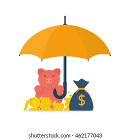 Protection money concept. Safe and secure investment. Vector illustration flat design style. Piggy bank is holding an umbrella to protect gold coins. Financial savings, money.