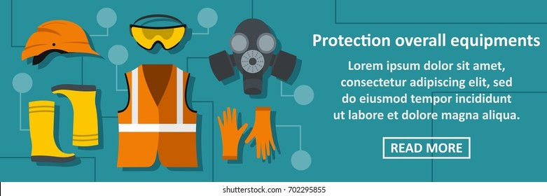 Protection overall equipments banner horizontal concept.