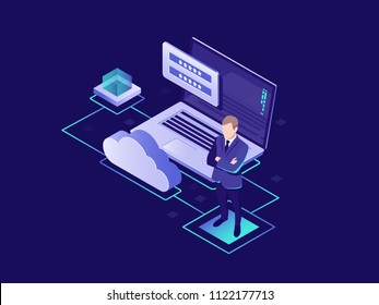 Protection of personal data, cloud storage of information, user authorization, cloud storage, secure access isometric vector illustration