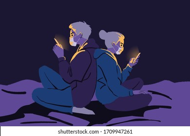 Protection, quarantine, communication, covid19, infection, 2019ncov, coronavirus concept. Couple man and woman sit home communicate online reading news. 2019ncov coronavirus infection COVID19 desease.