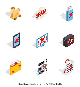 Protection and security icons set. Isometric 3d illustration of 9 protection and security vector icons for web