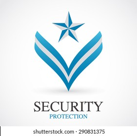 Protection security logo element design vector symbol shape icon abstract business company set