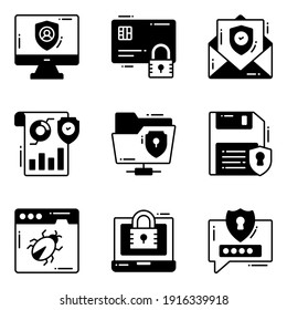 Protection and security vector glyph icons set cyber computer network business data technology