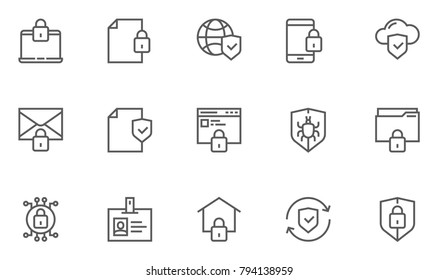 Protection and Security Vector Line Icons Set. Business Data Protection Technology, Cyber Security, Computer Network Protection. Editable Stroke. 48x48 Pixel Perfect.