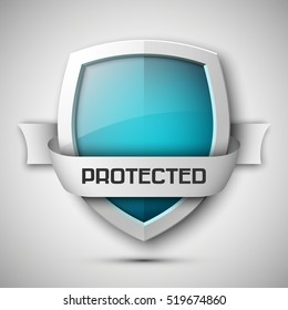 Protection shield concept with banner. Safety badge icon. Privacy banner. Security label. Presentation sticker shape. Defense sign. Vector illustration