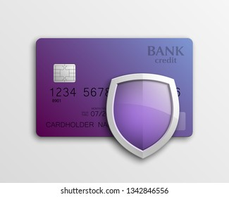 Protection shield Credit card. Safety badge banking icon. Defense safeguard finans icon. Security Plastic card software. Debit card guard electromagnetic chip. Privacy Electronic money funds transfer.