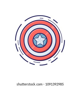 Protection Shield icon in thin outline style. Vector illustration. Hero. Star
