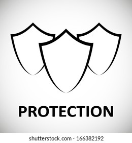 Protection shield modern concept design poster isolated on white