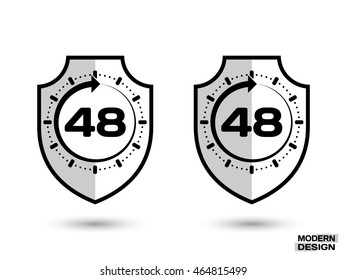Protection shield with shadow, and sign - 48 hour cycle. Icon isolated on white background. Vector