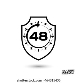 Protection shield and sign - 48 hour cycle. Icon isolated on white background. Vector
