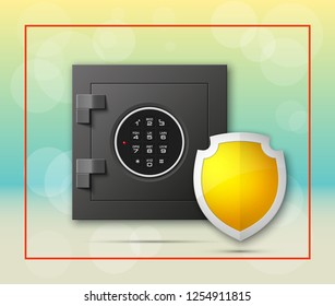 Protection shield strongbox. Safety badge banking. Defense safeguard shield finans icon. Security bank software. Financial shield guard. Privacy Electronic money funds transfer. Deposits investments
