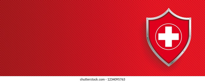 Protection shield with white cross on the red striped background. Eps 10 vector file.