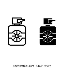 Protection suncream line and glyph icon. Sun lotion vector illustration isolated on white. Bottle of sunscreen cream outline style design, designed for web and app. Eps 10.