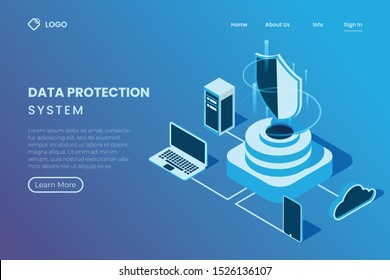 protection system in server, network data protection in isometric 3d illustration style