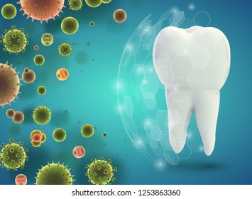 protection of teeth from caries and diseases. vector template