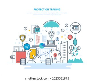 Protection trading. Financial stock market, e-commerce, capital markets. Trade exchange, trading, protection trades and transaction, growth finance, economic indicators. Illustration thin line design.