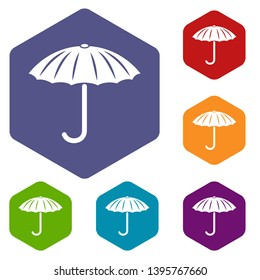 Protection umbrella icons vector colorful hexahedron set collection isolated on white