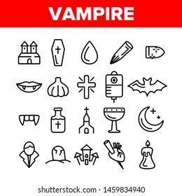 Protection From Vampire Vector Linear Icons Set. Weapons Vampire Hunter Outline Cliparts. Halloween Decoration Pictograms Collection. Garlic, Silver Bullets, Aspen Stake, Cross Thin Line Illustration