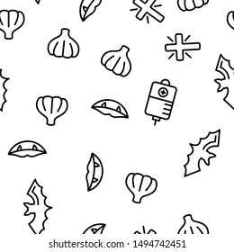 Protection From Vampire Vector Seamless Pattern Thin Line Illustration