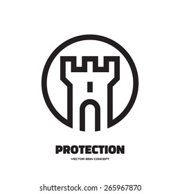 Protection - vector logo template concept illustration. Abstract tower of castle sign. Design element.