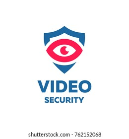 protection of the video surveillance of the eyes on the background of the shield logo for business