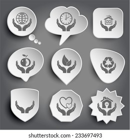protection world, clock in human hands, home, apple, life, nature, love, economy. White vector buttons on gray.