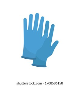 Protective blue gloves. Latex gloves as a symbol of protection against viruses and bacteria. Precaution icon. Vector illustration flat design. Isolated on white background.