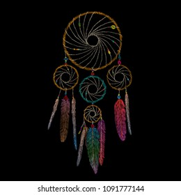 protective charm amulet dreams. traditional stylish youth embroidery stitch. sketch for printing on clothing, fabric, bag, accessories and design. trend vector