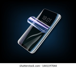 Protective film for glass. Vector illustration of transparent soft glass for mobile phone