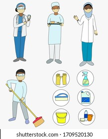 Protective gear against Covid-19 doctors wearing protective mask and uniform. African doctors. Isolated cartoons in white background. Cleaning man with cleaning products.